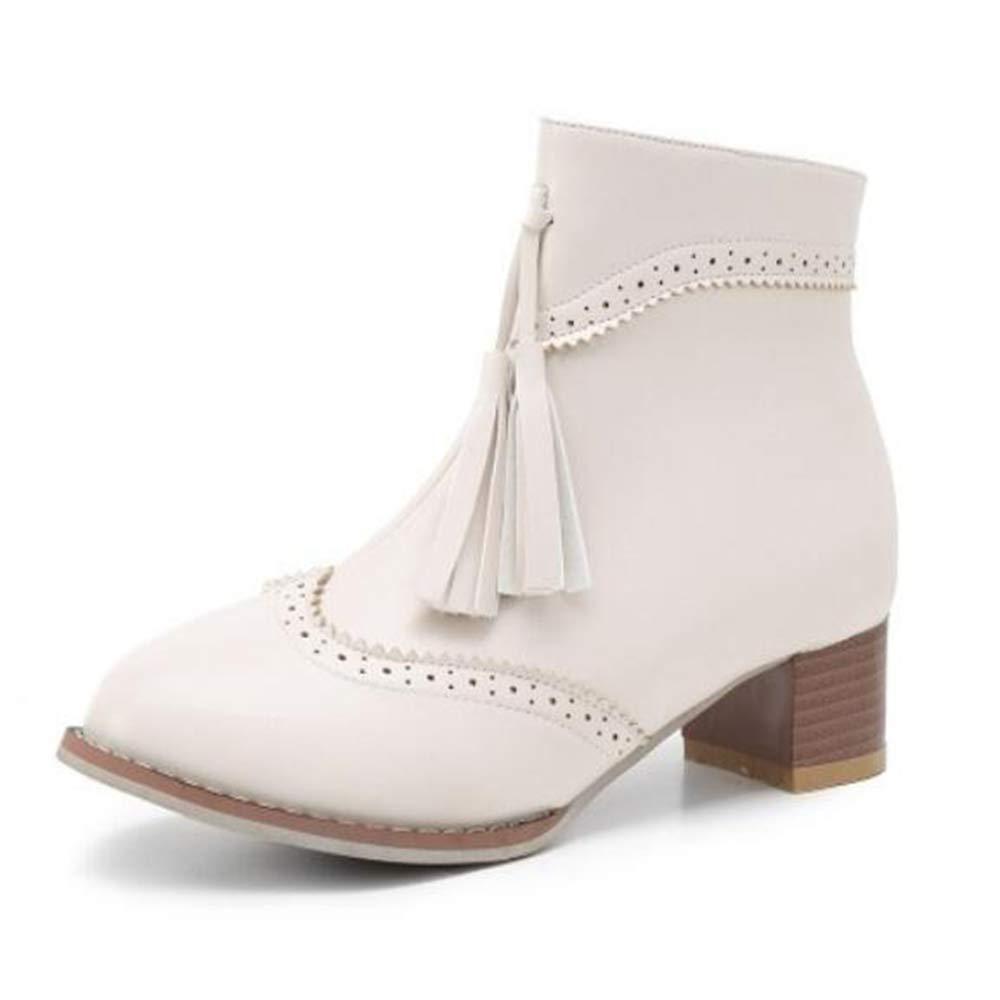 CITW Herbstliche Damenstiefel Brüten Stiefelies Große Damenstiefel Mit Retro-Damen Retro-Damen Retro-Damen Stiefeln Mode Stiefel,Beige,UK3 EUR37 ee649e