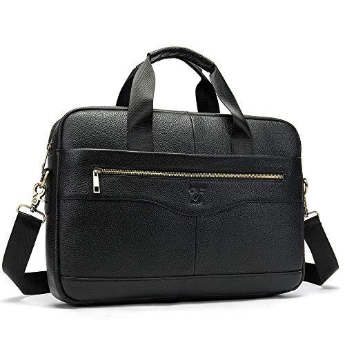 Genuine Leather Laptop Messenger Bag - 14in Laptop Messenger Bag For Men - Padded Protection Mens Laptop Messenger Bag - 6.5