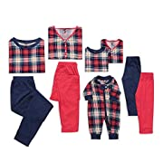 FASHIONMIA Pajama Matching Set Plaid Color Block Cotton pjs Long Sleeves Family Sleepwear