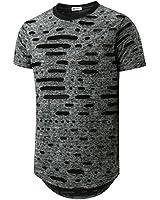 KLIEGOU Mens Hipster Hip Hop Ripped Round Hemline Hole T Shirt (05-3) Gray L