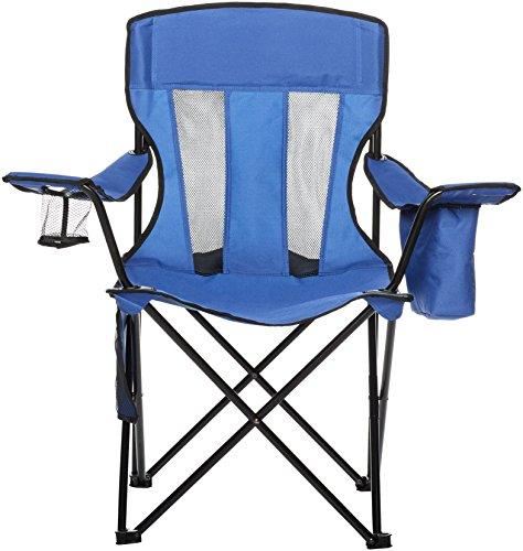 AmazonBasics Chaise de camping avec poche isotherme Bleu (Maille)