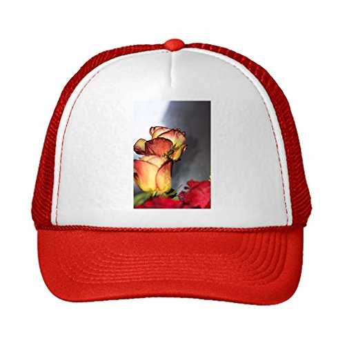 Speedy Pros Red And Orange Roses Bouquet Adjustable High Profile Trucker Hat Cap (Red Hat Rose Bouquet)