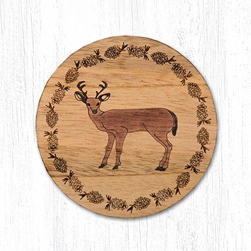 Earth Rugs 30-022D T-022 Deer Teak Wood Coaster-3.5''X3.5'', Brown