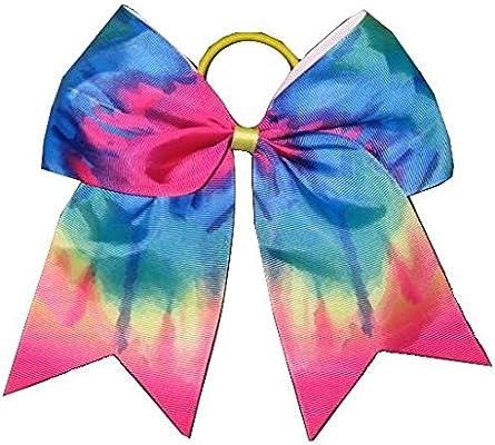 "NEW /""TIE-DYE RAINBOW/"" Cheer Bow Pony Tail 3/"" Ribbon Girls Hair Bows Cheerleading"