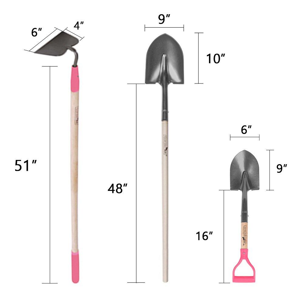GardenAll 7-Pieces Women Garden Tools Set- Include 14Tine Bow Rake/11T Steel Rake/24T Steel Rake/Round Point Shovel/4 Tine Cultivator/Mini Round Point Shovel/Forged Garden Hoe by GardenAll (Image #4)