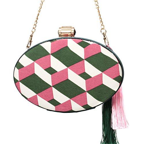 Evening Women B Purse Fashion Clutch Style Tassel Bag Calico Handbags Geometric Designs wCqx7HFF