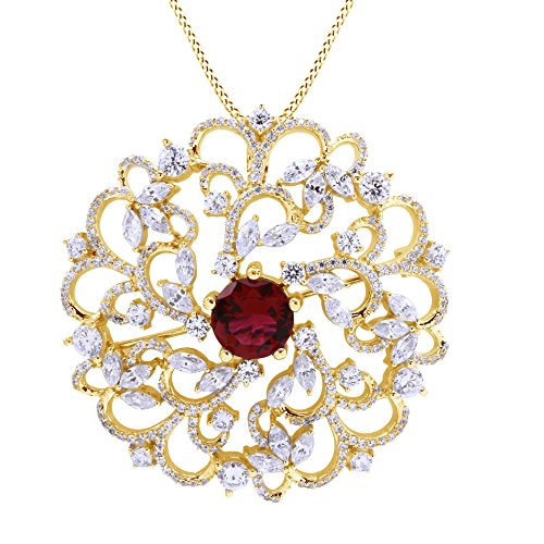 Jewel Zone US Simulated Ruby & White Cubic Zirconia Flower Swirl Brooch Pin Medallion Vintage Pendant in 925 Sterling Silver