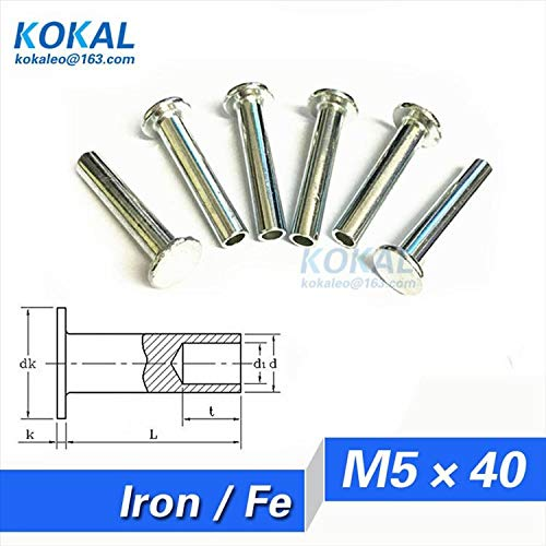Ochoos [Fe-M540] 50PCS M5 series pan head semitubular rivets M540MM steel rivets length 40MM