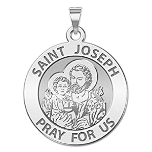Saint Joseph Religious Medal Available in Solid 10K And14K Yellow or White Gold, or Sterling Silver