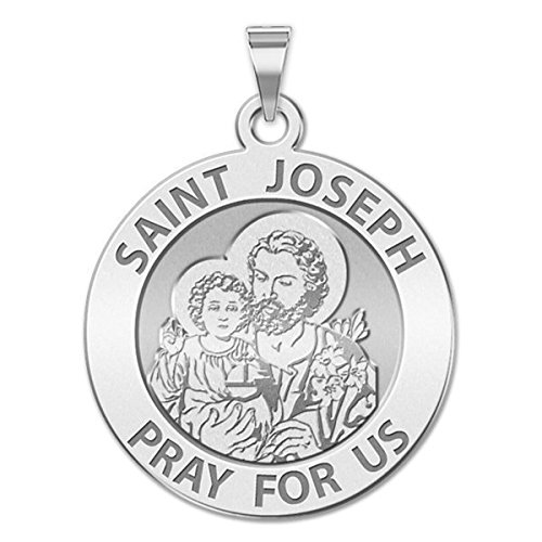 Custom Engraved Saint Joseph Religious Medal Available in Solid 10K And14K Yellow or White Gold, or Sterling Silver