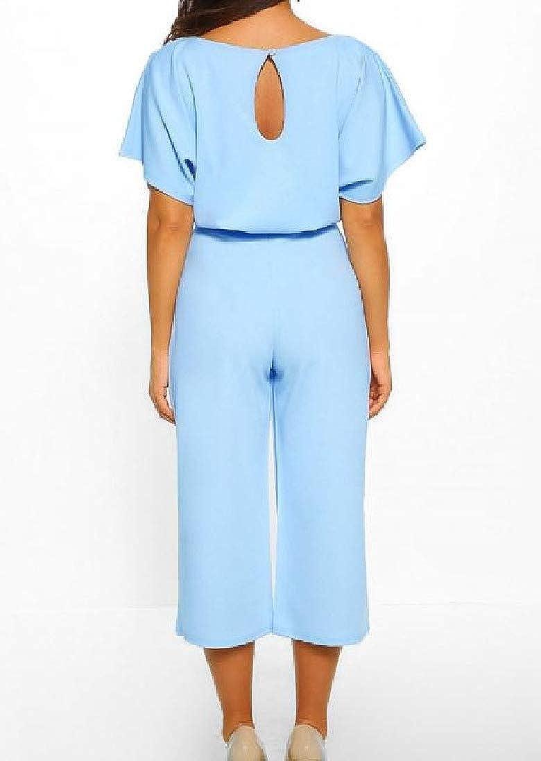 Winwinus Womens Loose Short-Sleeve Career Strappy OL Solid Jumpsuit Trousers