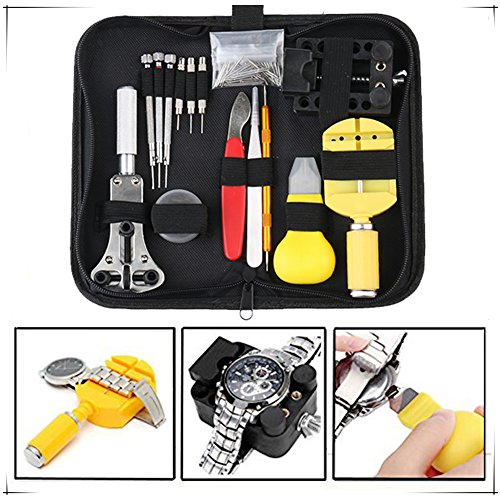 Change Watch Bands (144Pcs Watch Battery Repair Kit Tools, Change Watch Battery Kit, Professional Deluxe Punch Set,Spring Bar and Tools Set, Include Link Pin, Holder Opener, Carrying Case, Valentine's Day Gifts)