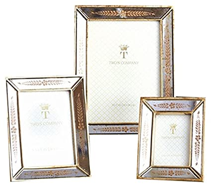 f1478cdb2ce9 Image Unavailable. Image not available for. Color  Two s Company 7825 Set  of 3 Gold Leaf Photo Frames Assorted 3 Sizes