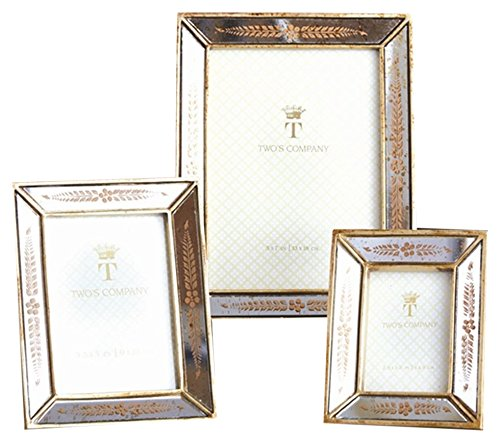 Two's Company 7825 Set of 3 Gold Leaf Photo Frames Assorted 3 Sizes by Two's Company