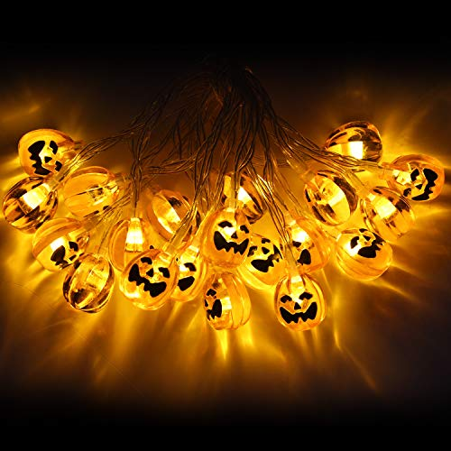 Christmas Lights String Festive Atmosphere, 9.8 ft 20 LEDs 3D-Fairy Light Strings, Stable/Flicker 2 Modes, 3 Battery Powered, Pumpkin Lights (Warm Yellow), Spider Lights(Mixed -