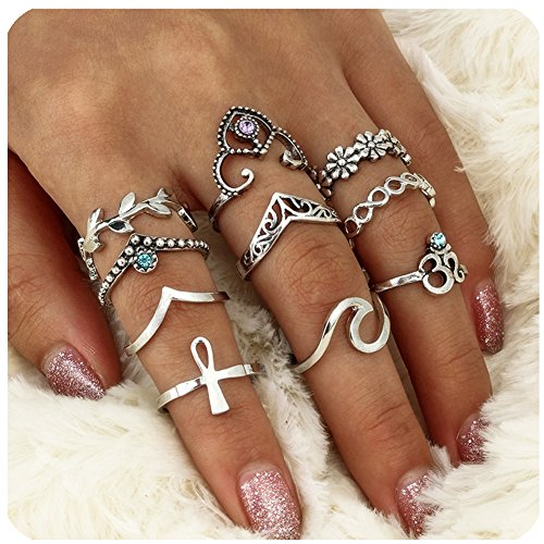 Zealmer Wave Ring Vintage Silver Knuckle Ring Set Crown Chevron Flower OM Religious Cross (Chevron Cross)