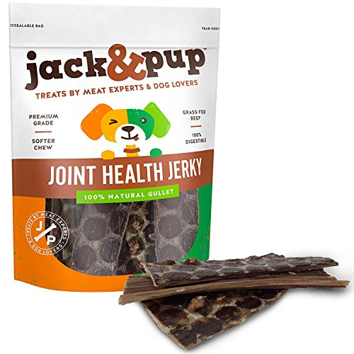 Jack&Pup 6 Joint Health Beef Jerky Dog Treat Chews (25 Pack) - Gourmet, Fresh and Savory Beef Gullet Jerky - Naturally Rich in Glucosamine and Chondroitin - Promotes Healthy Joints and Tissue Growth