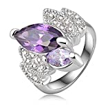 Evertrust (TM)Hot Sale Graceful Violet Engagement Rings/Wedding Rings With Platinum Plated Crystals Fashion Jewelry Ri-HQ0151