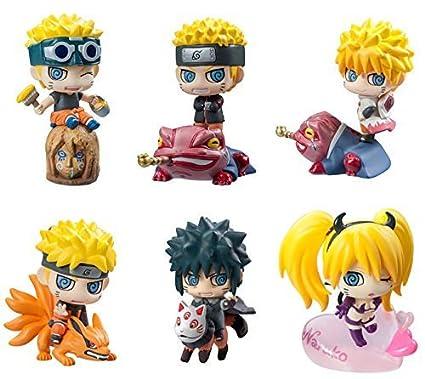 OIVA Set of 6 Pieces Naruto Uzumaki Mosquito Eyes Mini Figure Collectible Model (Fourth Edition)