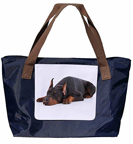 Shopper /Schultertasche / Einkaufstasche / Tragetasche / Umhängetasche aus Nylon in Navyblau - Größe 43x33cm - Motiv: Doberman Porträt - 04