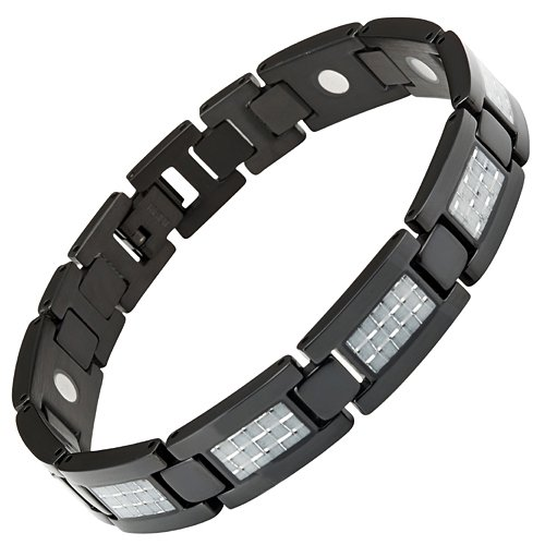 Carbon Fiber Titanium Magnetic Bracelet Size Adjusting Tool and Gift Box Included By Willis - Colour Fibre Carbon