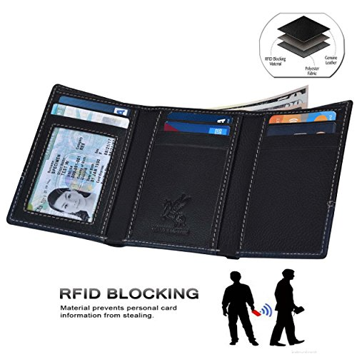 RFID Leather Trifold Wallets for Men - Handmade Slim Mens Wallet 6 Credit Card ID Window and Gift Box Secure by EENHORRAN (Black & Navy) by EENHORRAN (Image #1)