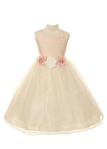 Amazon kids dream dupioni silk flower girl dress baby kids dream girls 2t dusty rose silk tulle flower girl easter dress mightylinksfo