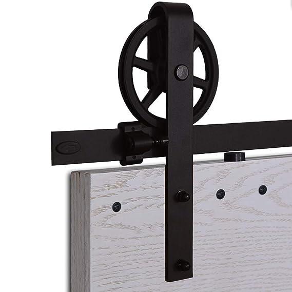 kit porte coulissante roulette et rail CCJH 5FT-153cm Quincaillerie Kit de Rail Grande Roue Roulettes pour Porte  Coulissante Hardware pour une Porte Suspendue en Bois Sliding Barn Door  Hardware ...