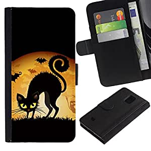 All Phone Most Case / Oferta Especial Cáscara Funda de cuero Monedero Cubierta de proteccion Caso / Wallet Case for Samsung Galaxy S5 Mini, SM-G800 // Black Cat Halloween Yellow Eyes Witch Art Drawing