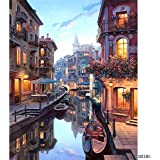 Bigie DIY Oil Painting Paint by Number Kit with Scenery People PBN Home Wall Art Decor 16x20inch (Evening Venice)