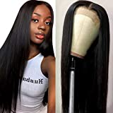 Muokass 4x4 Lace Front Wigs Straight Hair Brazilian Virgin Human Hair Lace Closure Wigs For Black Women 150% Density Pre Plucked With Elastic Bands Natural Color (22 inch, straight wig)