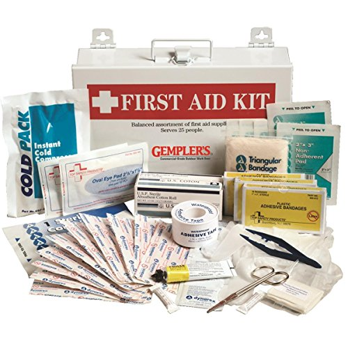GEMPLER'S Commercial-Size Company Workplace / Office First Aid Kit – Supplies First Aid for 25 People – Comes with Wall-Mountable Metal High Visibility Storage Box from GEMPLER'S
