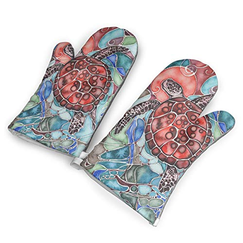 HEPKL Oven Mitts Sea Turtle Tamara Phillips 1Pair of Non-Slip Heat Resistant Oven Gloves Kitchen for Cooking Baking Grilling Barbecue Potholders