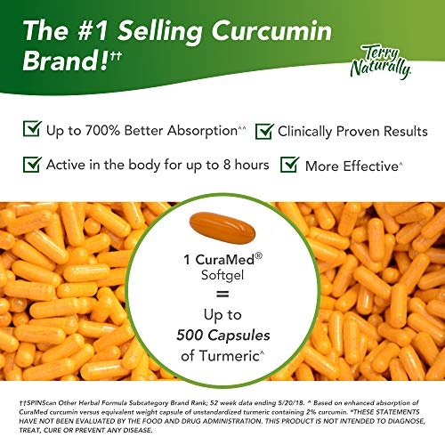 Terry Naturally CuraMed 750 mg - 60 Softgels - Superior Absorption BCM-95 Curcumin Supplement, Promotes Healthy Inflammation Response - Non-GMO, Gluten-Free, Halal - 60 Servings by Terry Naturally (Image #2)