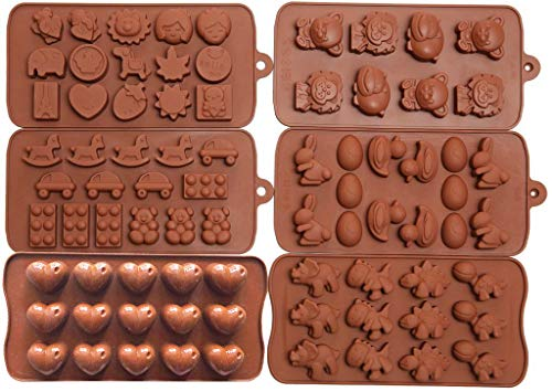 Wocuz 6pc Candy Molds, Chocolate Molds, Silicone Molds, Soap Molds, Silicone Baking Molds-6pc Value Set- Dinosaur,happy Faces,Loving Heart,bunny,figures,fruits, Kids Toys Valentine's Day gifts]()