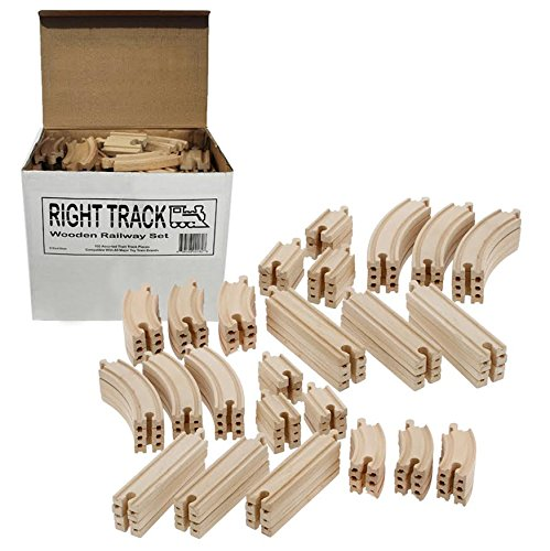 Straight Wooden Train Tracks (Wooden Train Track 100 Piece Pack - 100% Compatible with All Major Brands including Thomas Wooden Railway System - By Right Track Toys)