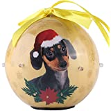 Cue Cue Pet Festive Ready to Hang Twinkling Lights Dachshund Holiday Ball Ornament