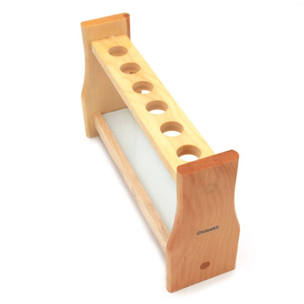 Chiloskit 0.7'' (18mm) Holes Wood Wooden Test Tube Rack Holder Stand for API 10ml 25ml Test Tubes Lab Tube Racks Pen Holder (10ml 6Slots) by Chiloskit
