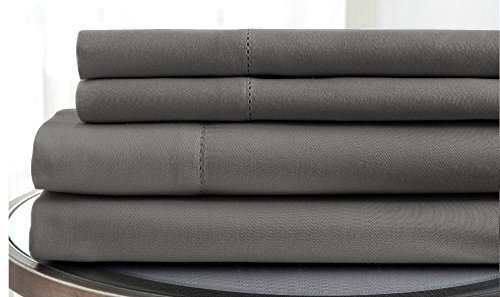 Coit & Campbell Premium Hotel Collection Solid 500 Thread Count Deep Pocket 100% Cotton Sateen Sheet Set, Full Dark Grey