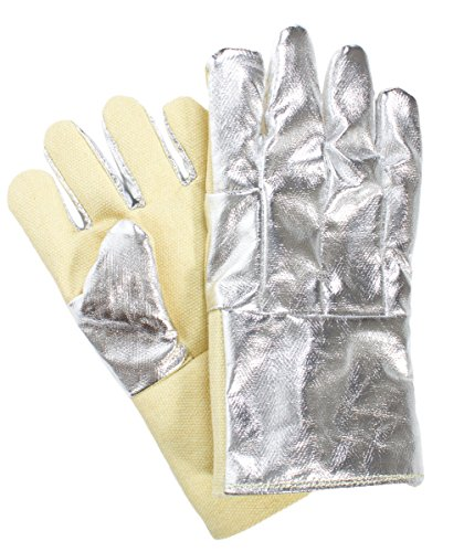 National Safety Apparel G64TCSR0114 Thermobest Glove with Carbon Kevlar Back, Large, Aluminized Back/Yellow Front by National Safety Apparel Inc (Image #1)