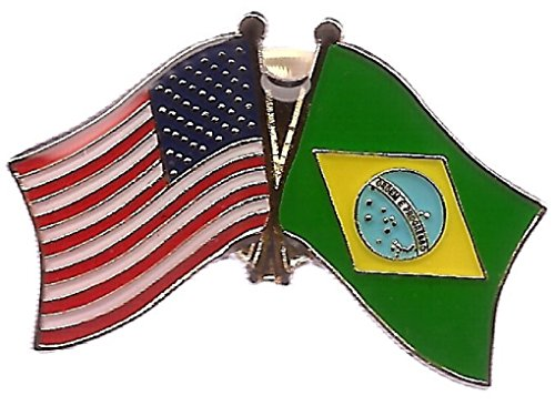 PACK of 50 Brazil & US Crossed Double Flag Lapel Pins, Br...