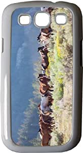 Rikki KnightTM Horses with Mountain Backdrop - White Hard Rubber TPU Case Cover for Samsung? Galaxy i9300 Galaxy S3