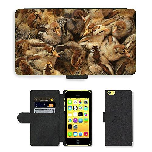 Just Phone Cases PU Leather Flip Custodia Protettiva Case Cover per // M00129181 Poulet Chicks Oiseaux bébé volaille // Apple iPhone 5C