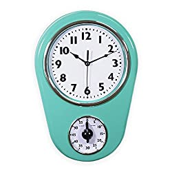 Slash Retro Vintage Old Fashioned 8.5 Inch Kitchen Wall Clock with 60 Minutes Timer (Mint Green)