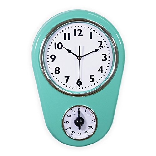 Vintage Retro Mint - Slash Retro Vintage Old Fashioned 8.5 Inch Kitchen Wall Clock With 60 Minutes Timer (Mint Green)