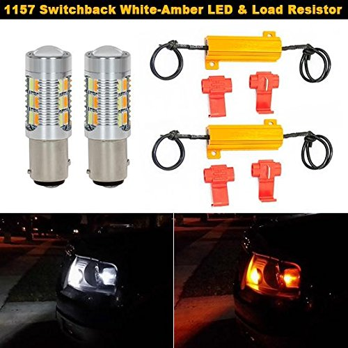 Partsam 2PCS 1157 1004 94 Switchback Super Power Led Ultra Bright Front Turn Sginal Light White-Amber + 50W-6Ohm Load Resistor