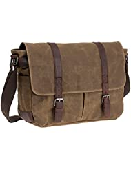 Waterproof Waxed Canvas 15 Macbook pro/ 14 Laptop Messenger Bag Men Business Vintage shoulder bag / Briefcase