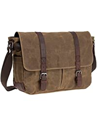"Waterproof Waxed Canvas 15.6"" Laptop Messenger Bag Men Business Vintage shoulder bag / Briefcase"