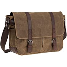 "Waterproof Waxed Canvas 15"" Macbook pro/ 14'' Laptop Messenger Bag Men Business Vintage shoulder bag / Briefcase"