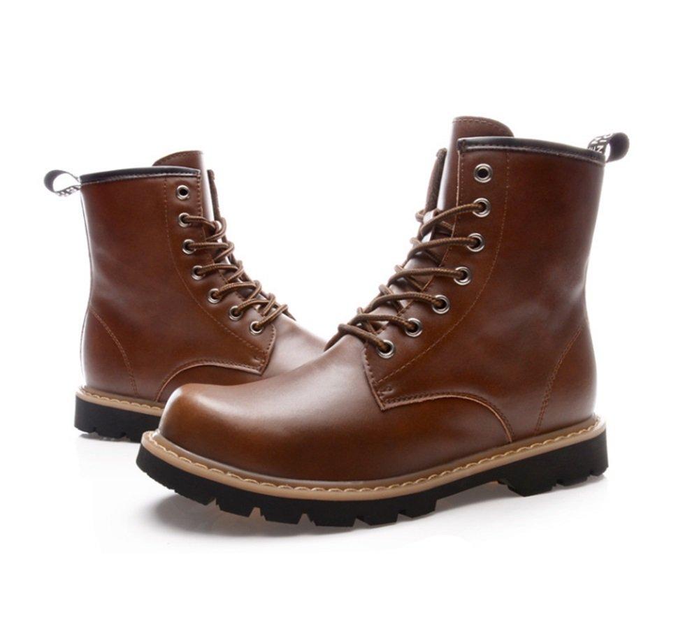 TMKOO Winter Martin Stiefel Leder männer Stiefel Stiefel Britischen warme Baumwolle Stiefel Werkzeug Stiefel männer Schuhe (Farbe : Braun+Wool, Größe : 38)